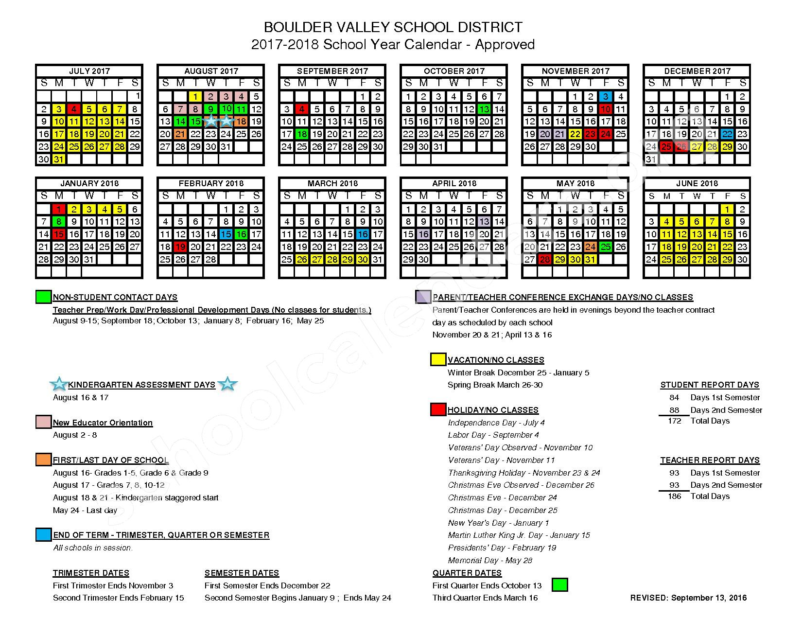 2017 - 2018 District Calendar – Nederland Middle-Senior High School – page 1