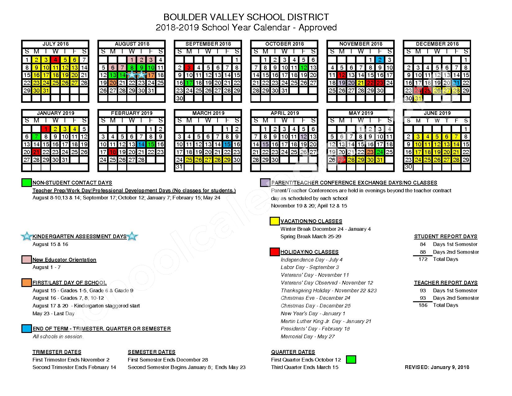 2018 - 2019 District Calendar – Nederland Middle-Senior High School – page 1