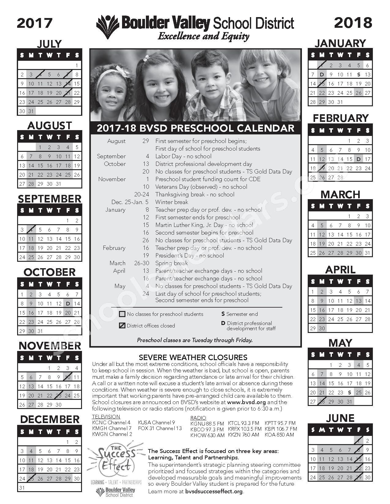 2017 - 2018 Preschool Calendar – Nederland Middle-Senior High School – page 1
