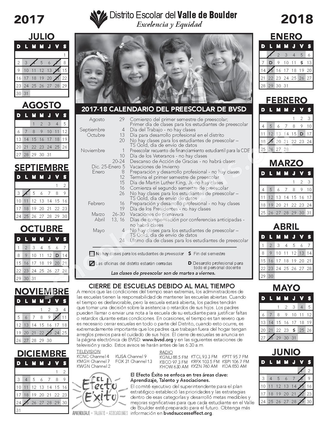 2017 - 2018 Calendario Del Preescolar – Boulder Valley School District – page 1