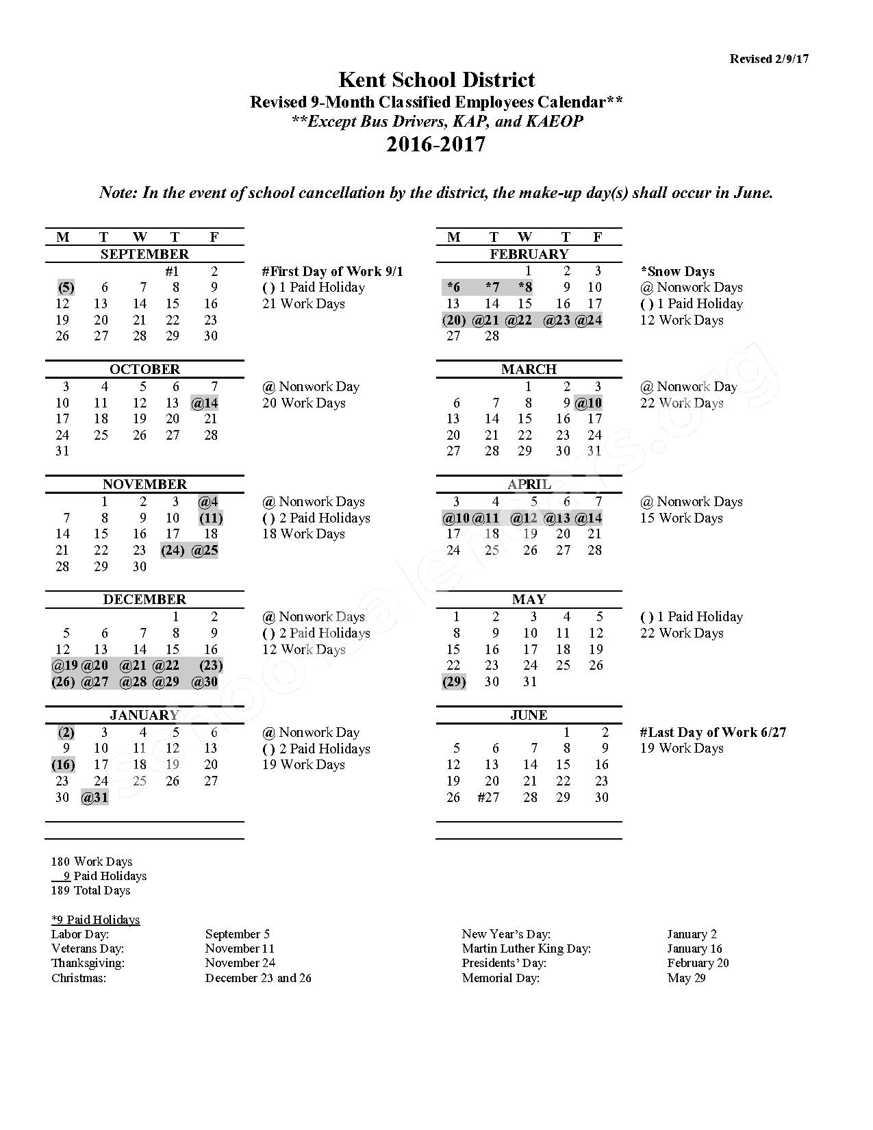 2016 - 2017 9-Month Classified Employees Calendar (Revised) – Meadow Ridge Elementary School – page 1