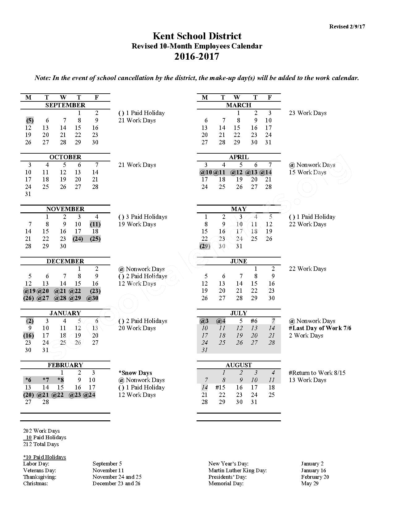 2016 - 2017 10-Month Employees Calendar (Revised) – Meadow Ridge Elementary School – page 1