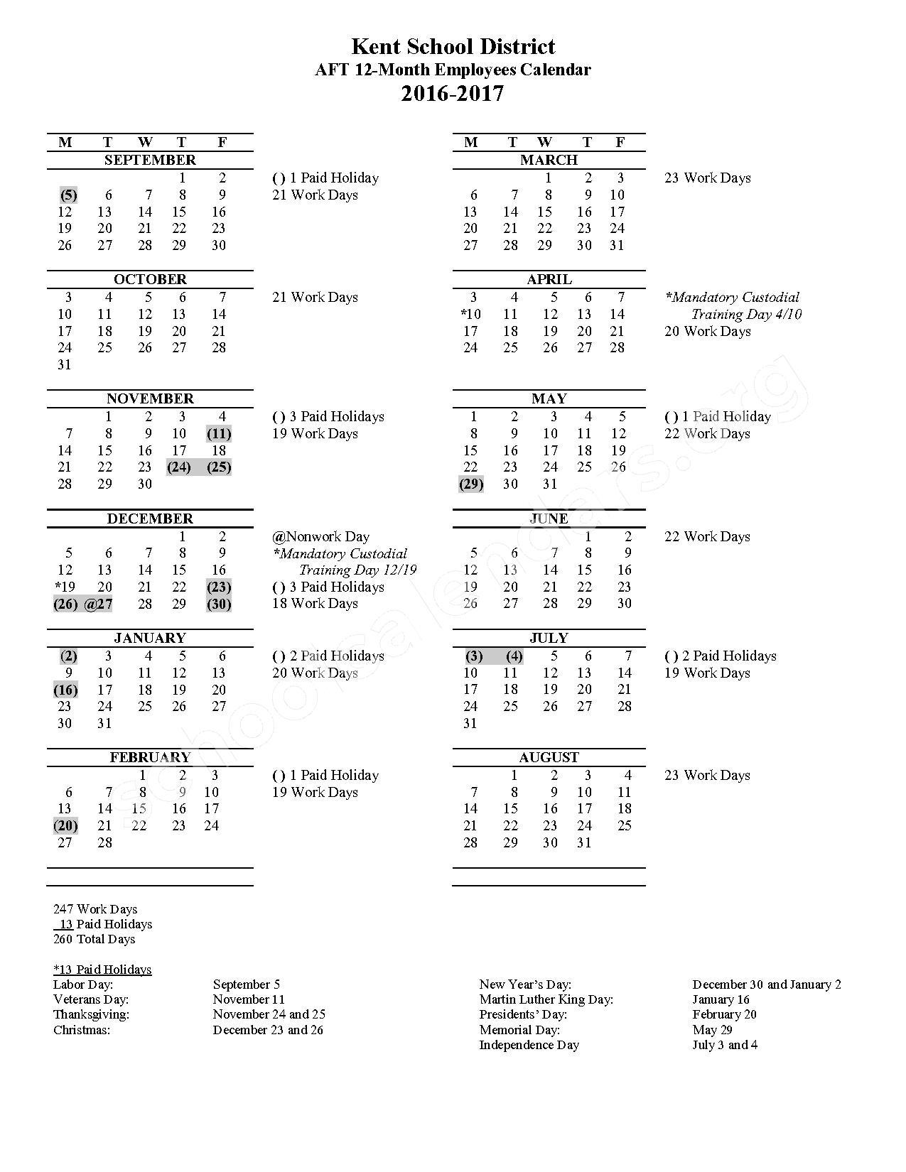 2016 - 2017 AFT (Maintenance/Custodial) Employees Calendar – Meadow Ridge Elementary School – page 1
