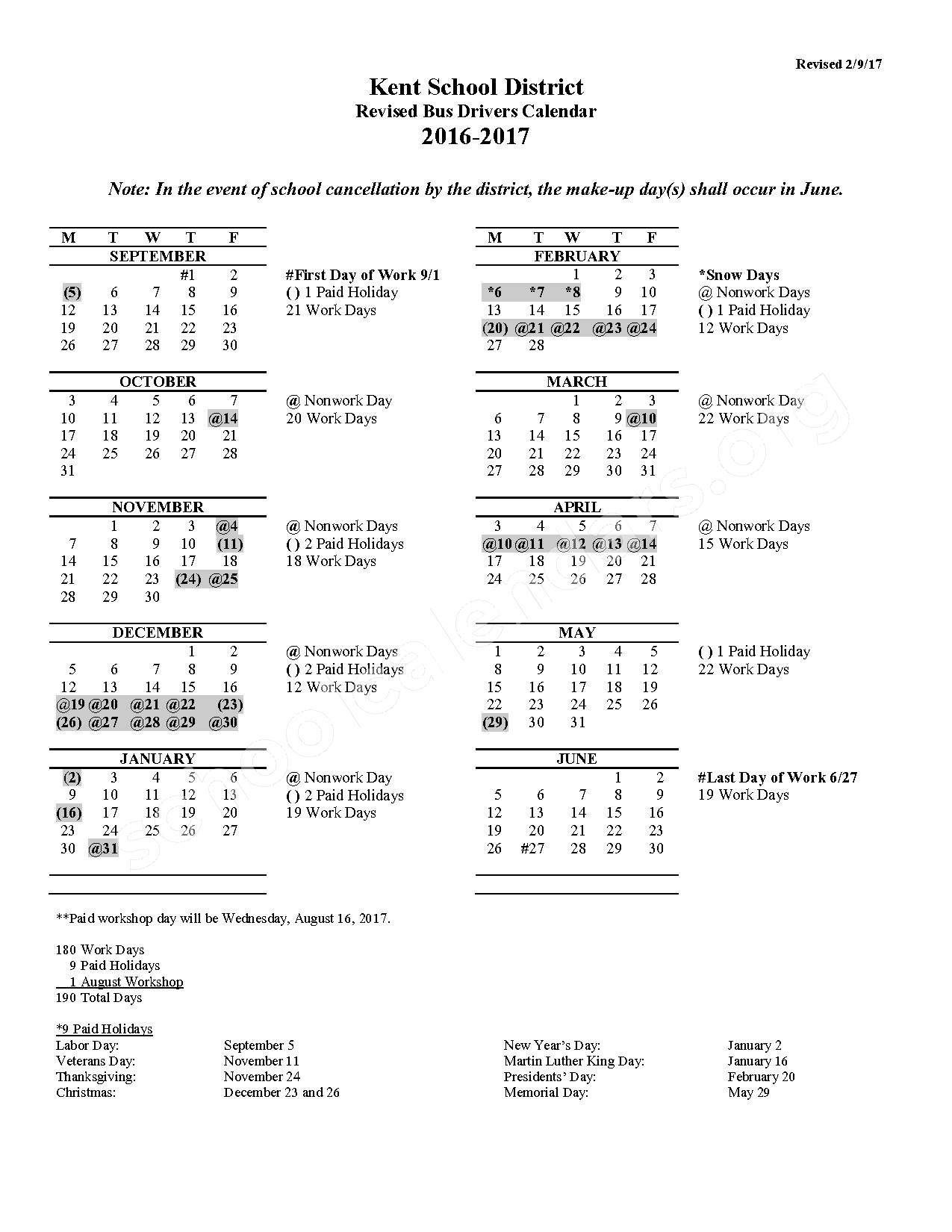 2016 - 2017 Bus Drivers Calendar (Revised) – Meadow Ridge Elementary School – page 1