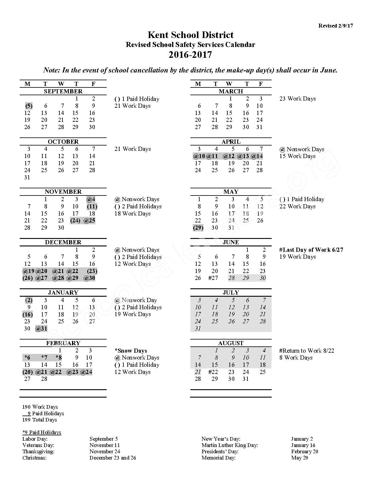 2016 - 2017 Safety Services Calendar (Revised) – Meadow Ridge Elementary School – page 1