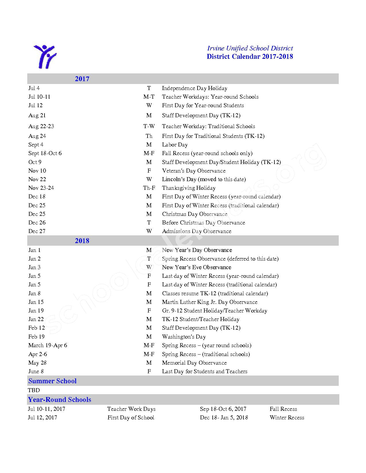 2017 - 2018 IUSD Calendar – Irvine Unified School District – page 1