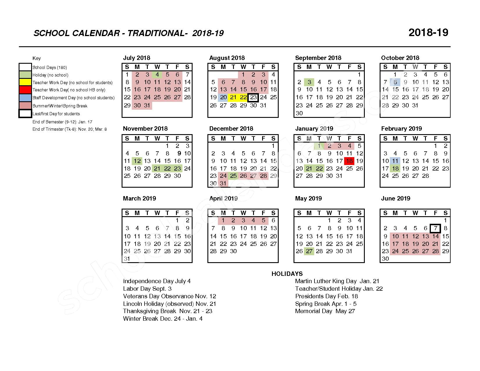 2018 - 2019 IUSD Traditional Calendar – Irvine Unified School District – page 1
