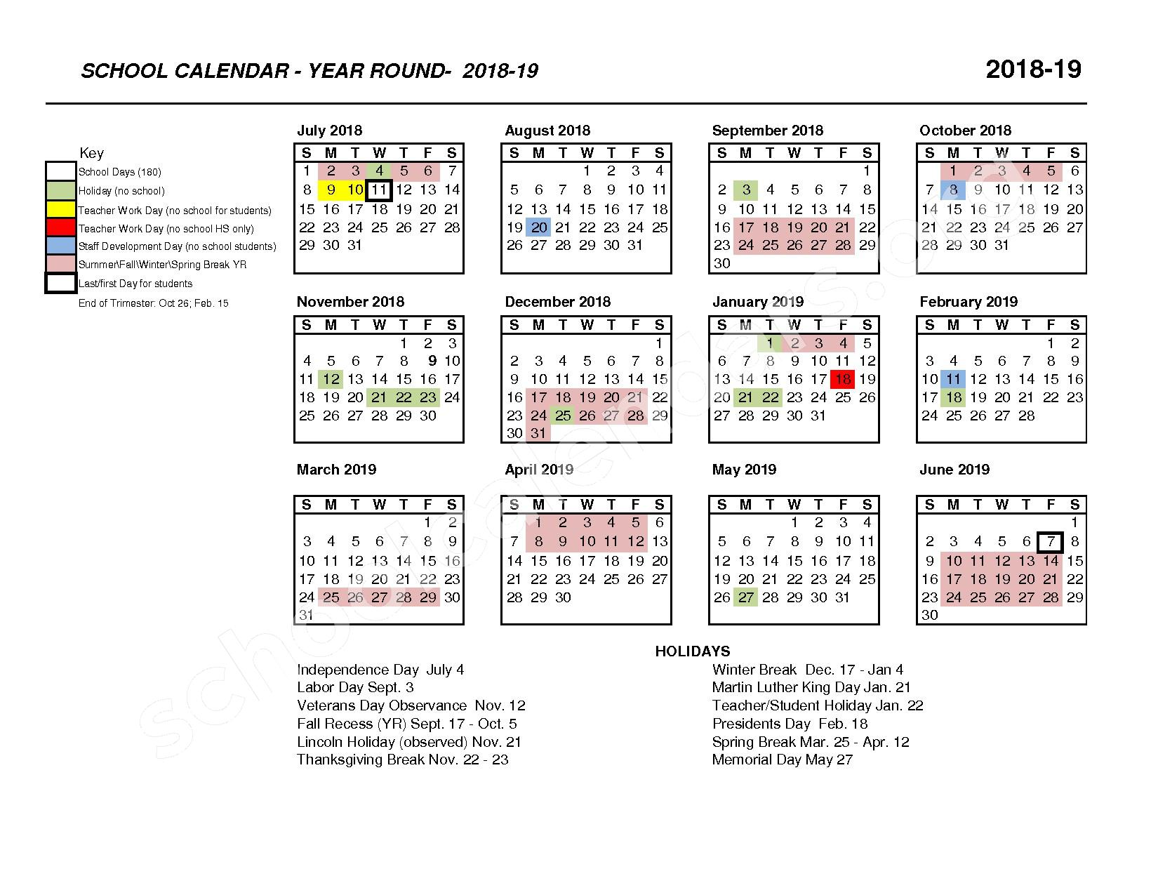 2018 - 2019 IUSD Year-Round Calendar – Irvine Unified School District – page 1