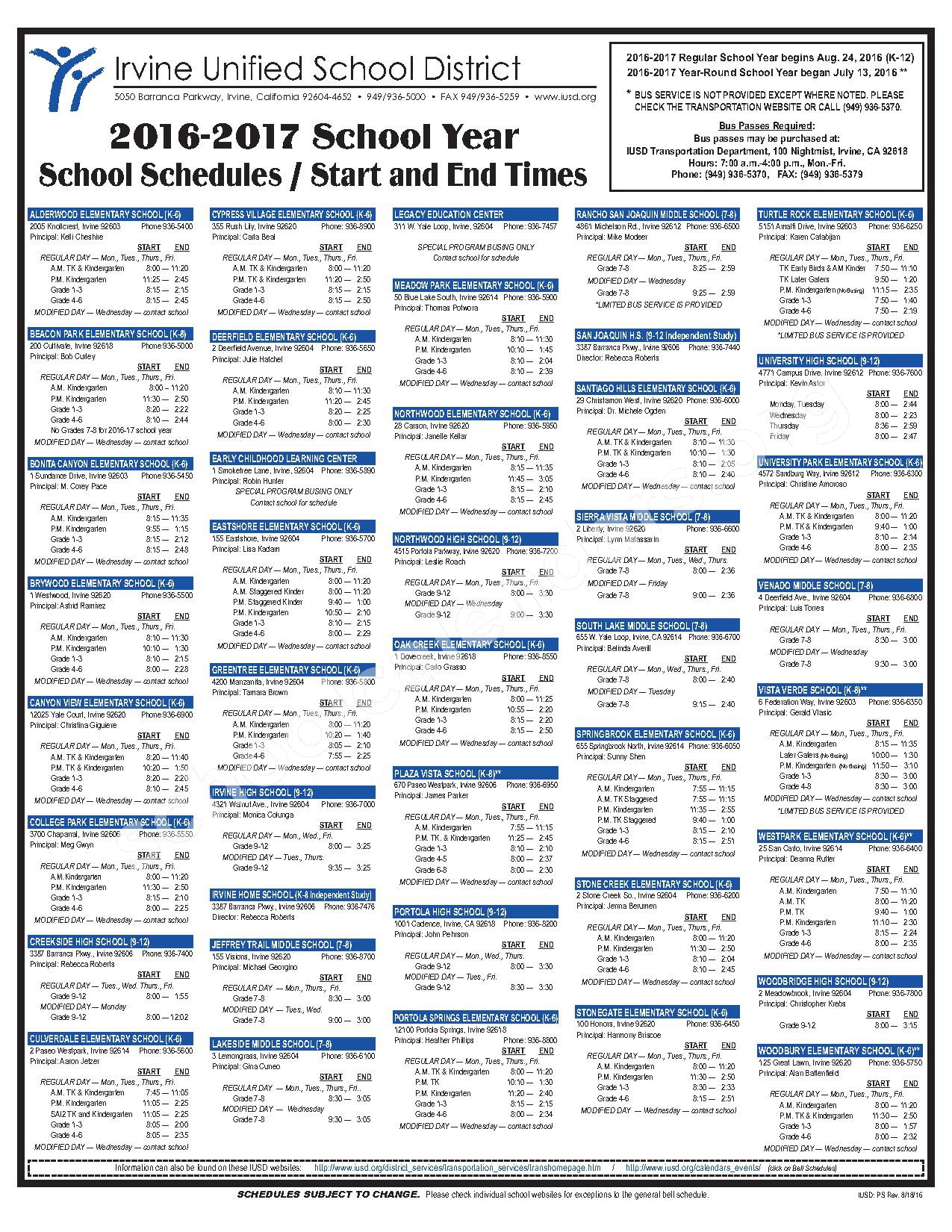 2016 - 2017 Bell Schedules – Irvine Unified School District – page 1