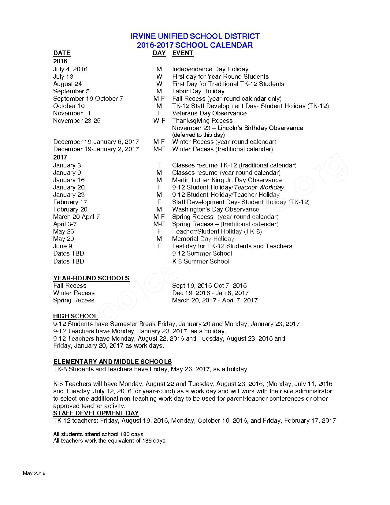 2016 - 2017 District Calendar – Irvine Unified School District – page 1