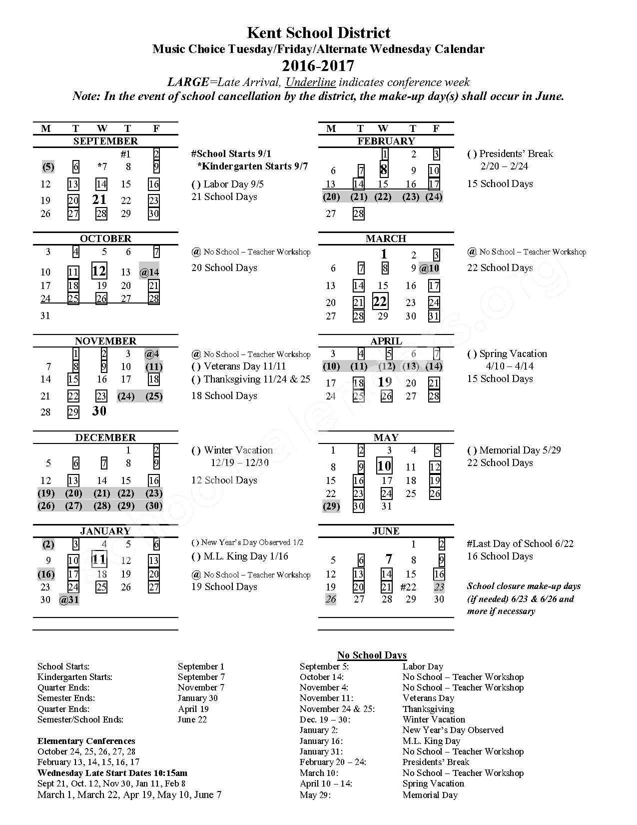 2016 - 2017 Music Choice Calendar – Meadow Ridge Elementary School – page 1