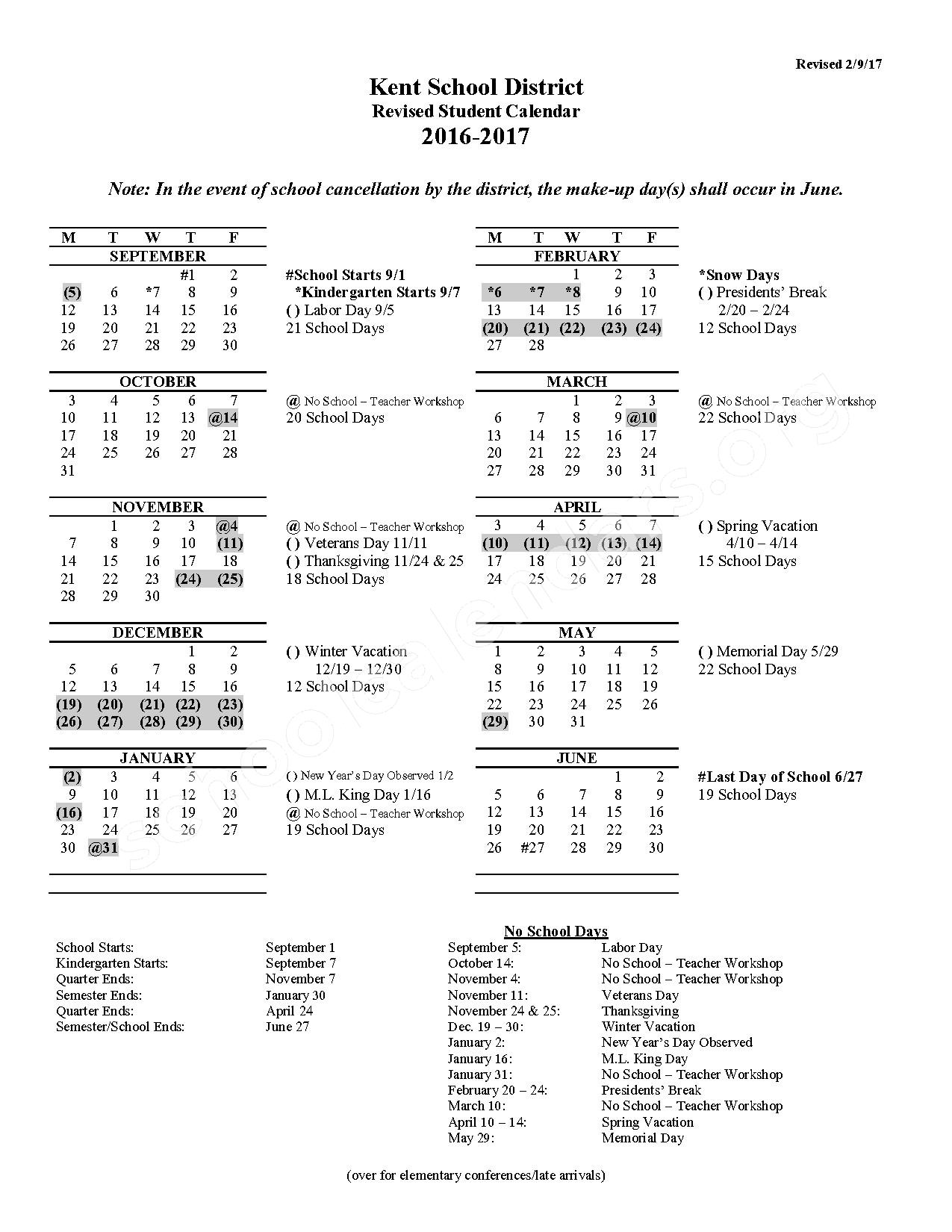 2016 - 2017 Student Calendar (Revised) – Grass Lake Elementary School – page 1