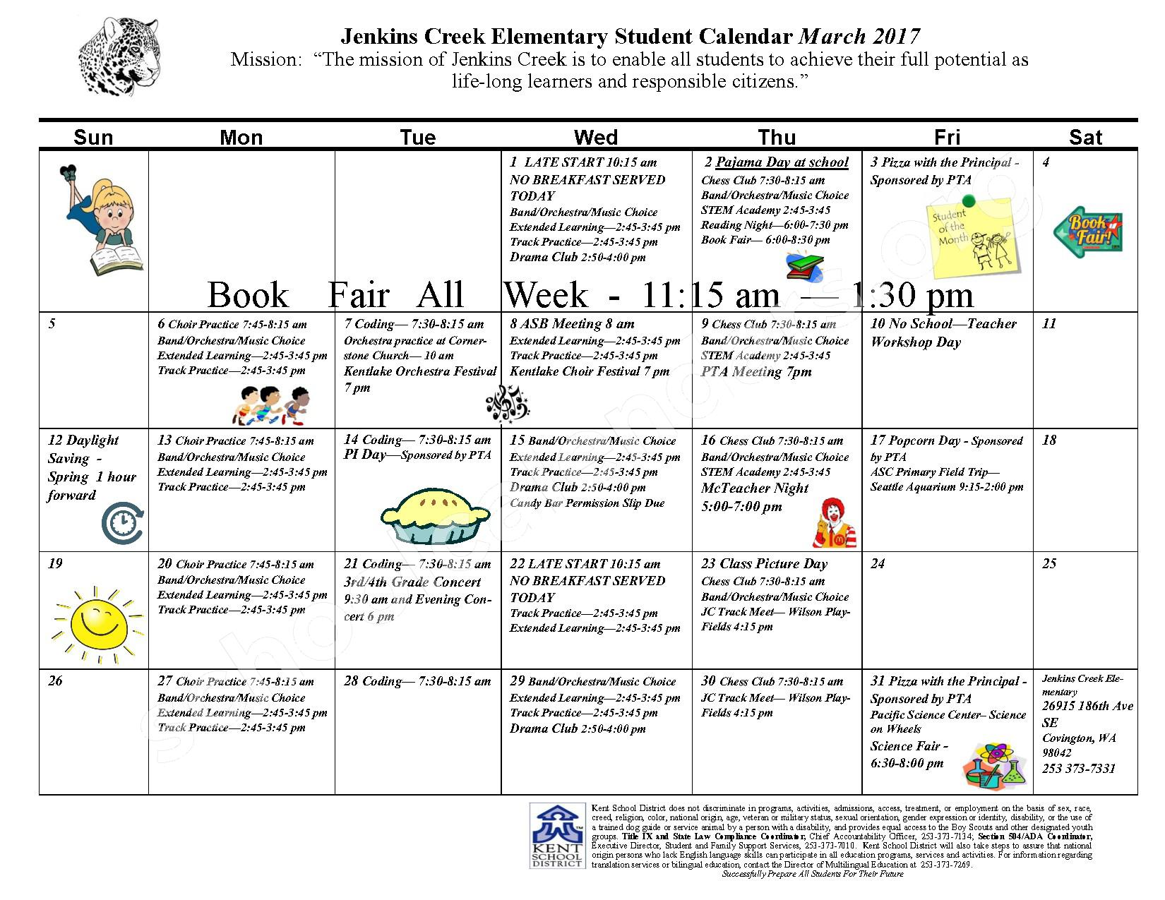 March 2017 Jenkins Creek Elementary Student Calendar – Jenkins Creek Elementary School – page 1