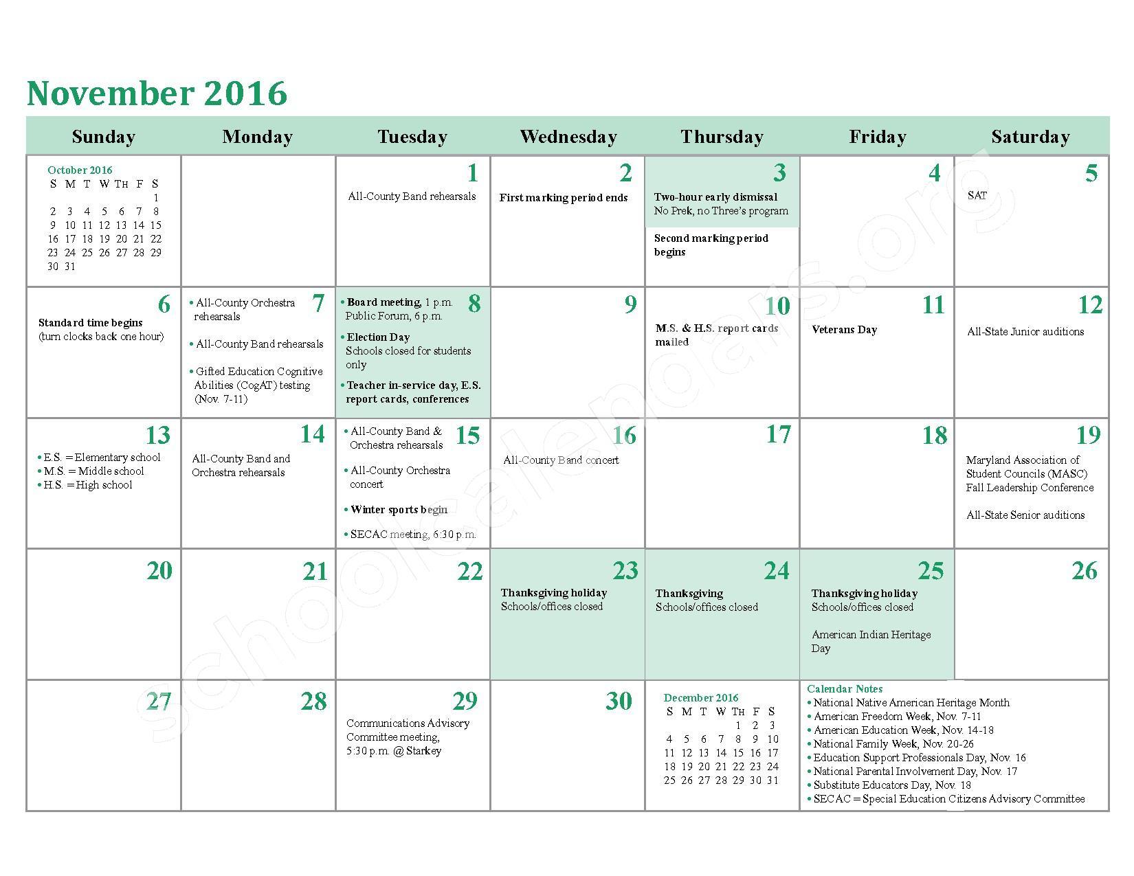 2016 - 2017 School Calendar – Charles County Public Schools – page 10