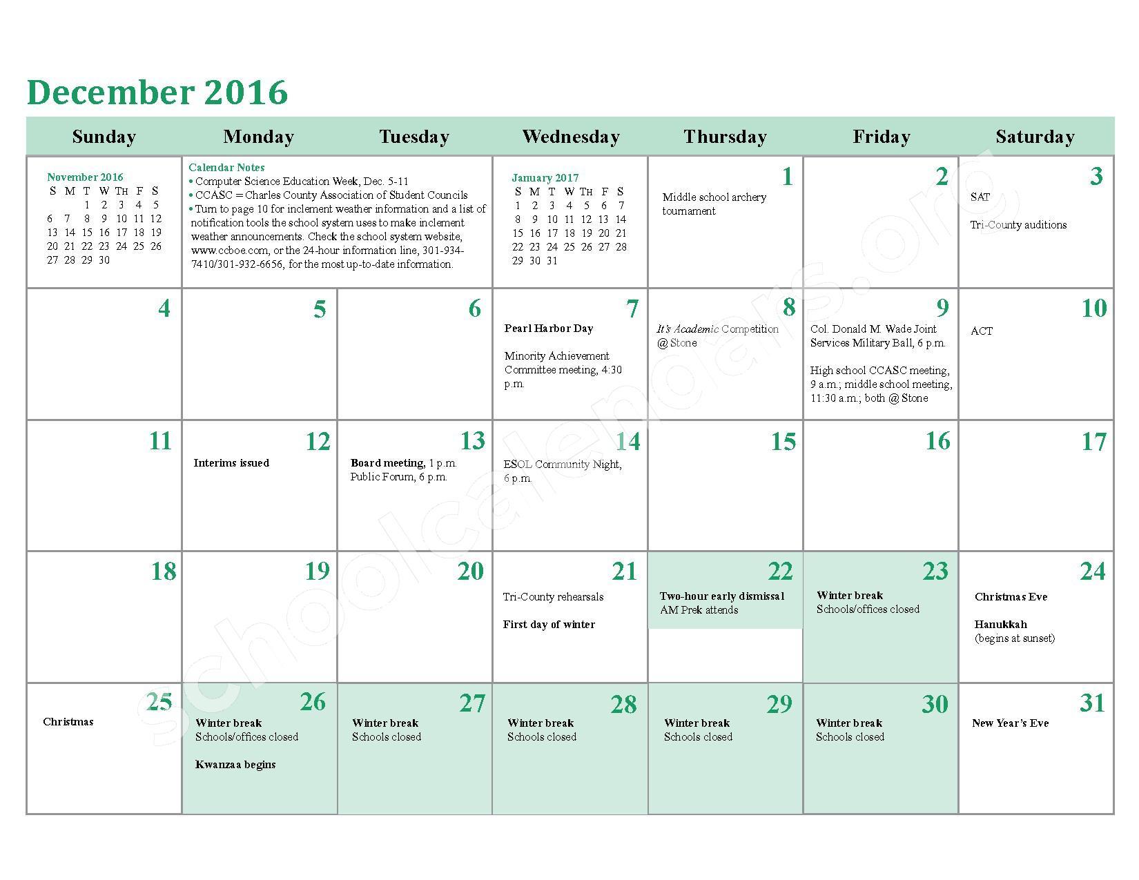 2016 - 2017 School Calendar – Charles County Public Schools – page 12