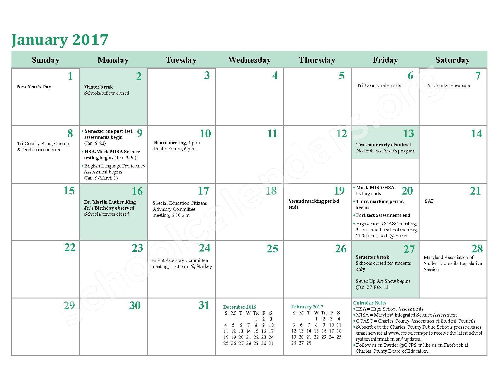 2016 - 2017 School Calendar – Charles County Public Schools – page 14