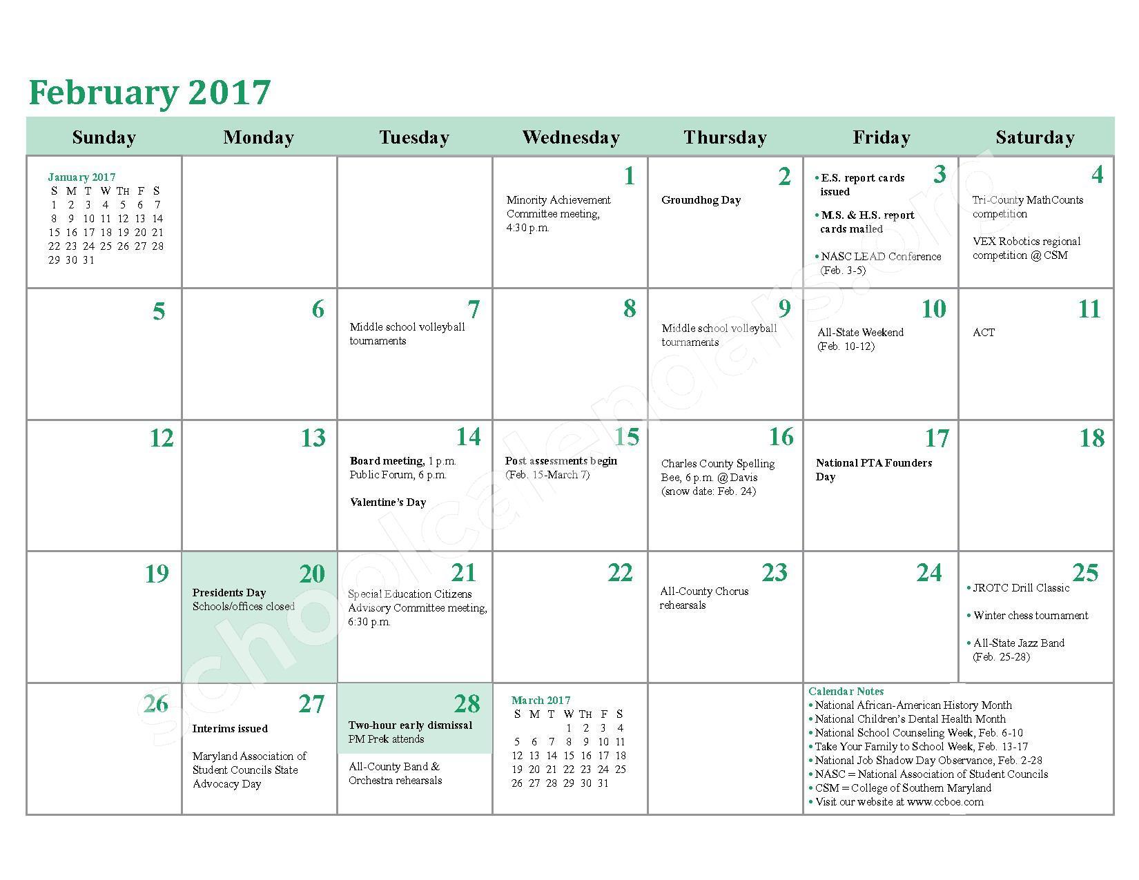 2016 - 2017 School Calendar – Charles County Public Schools – page 16