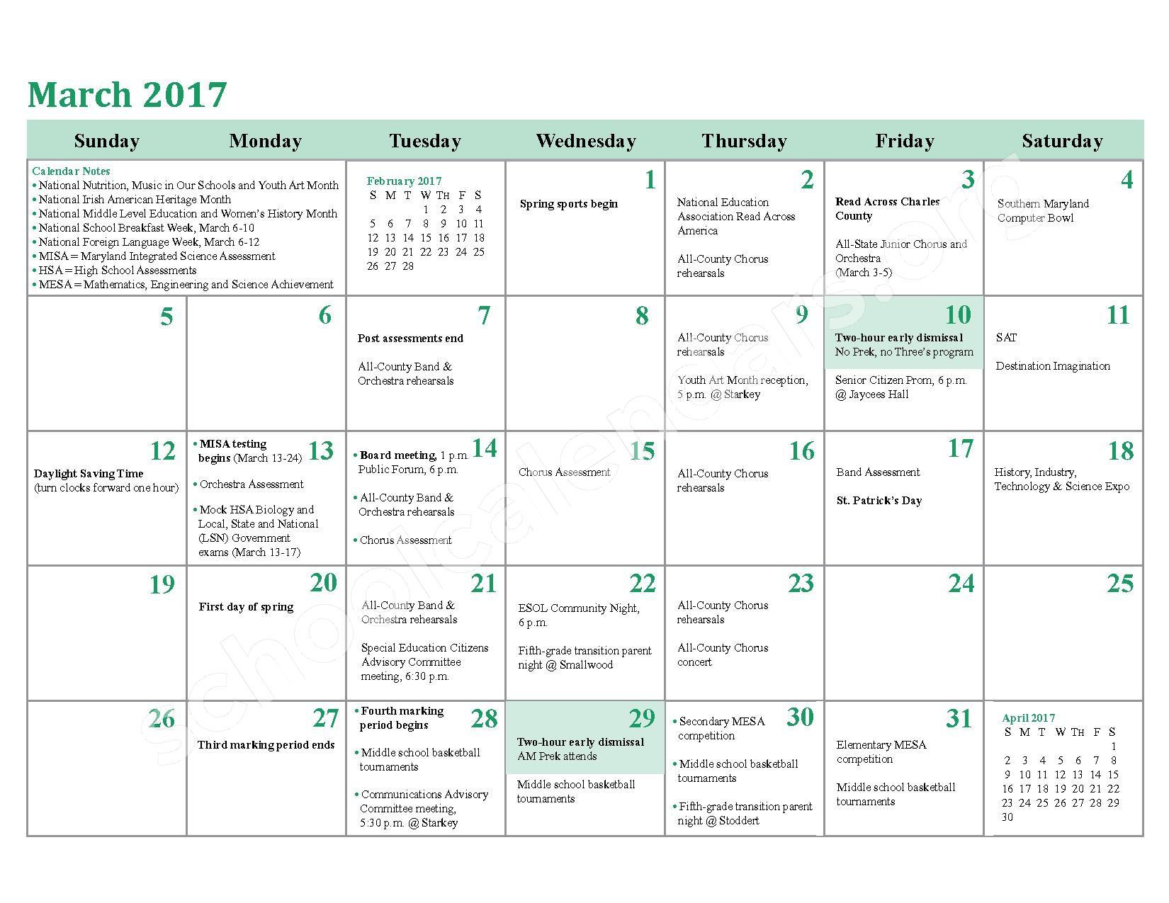 2016 - 2017 School Calendar – Charles County Public Schools – page 18