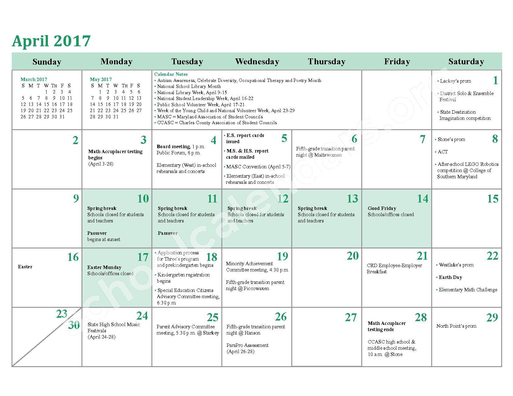 2016 - 2017 School Calendar – Charles County Public Schools – page 20