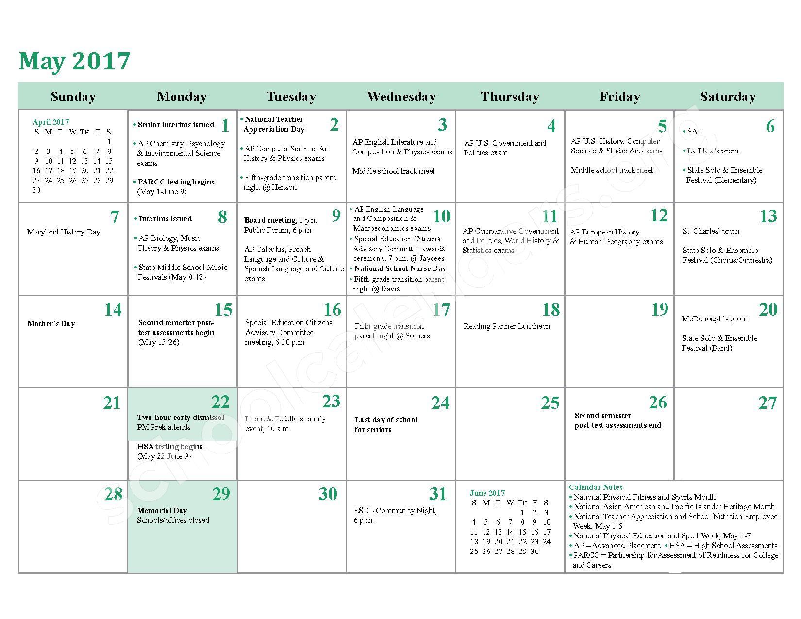 2016 - 2017 School Calendar – Charles County Public Schools – page 22