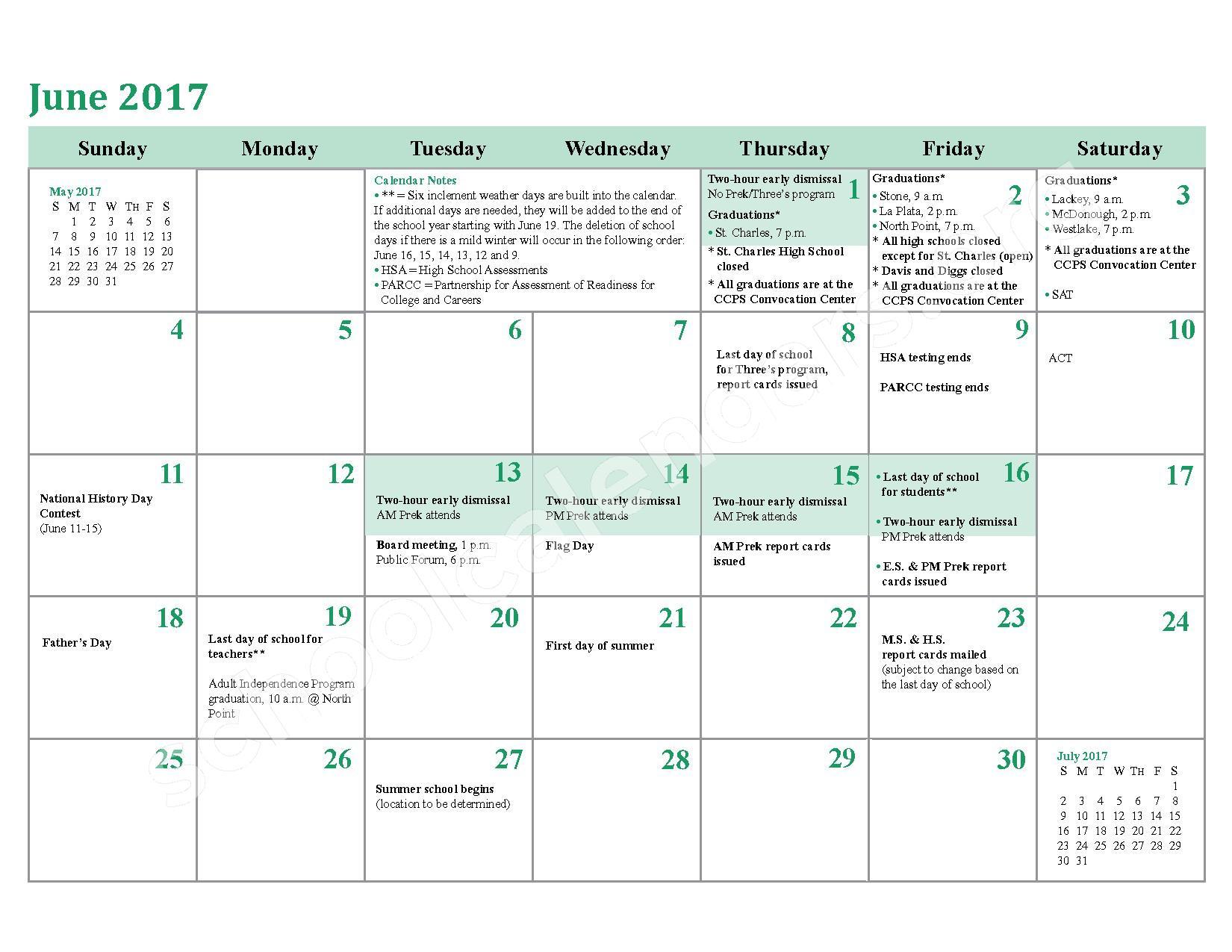 2016 - 2017 School Calendar – Charles County Public Schools – page 24