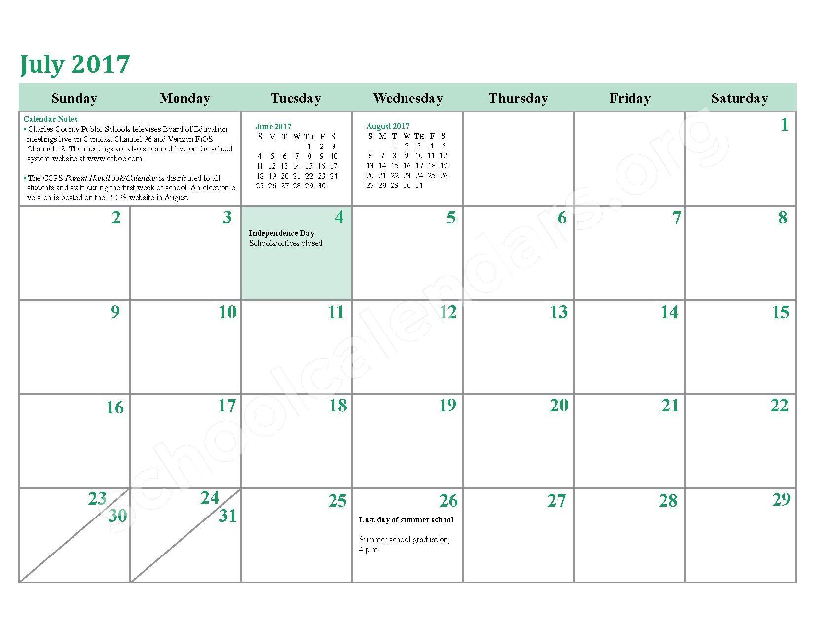 2016 - 2017 School Calendar – Charles County Public Schools – page 26