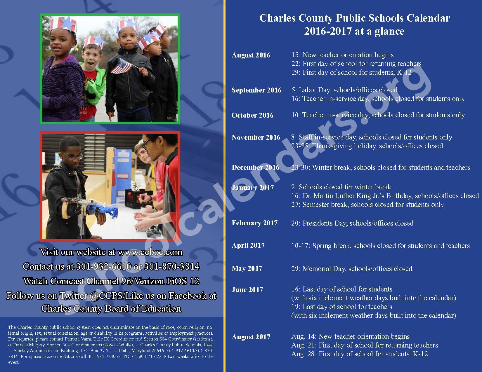 2016 - 2017 School Calendar – Charles County Public Schools – page 37