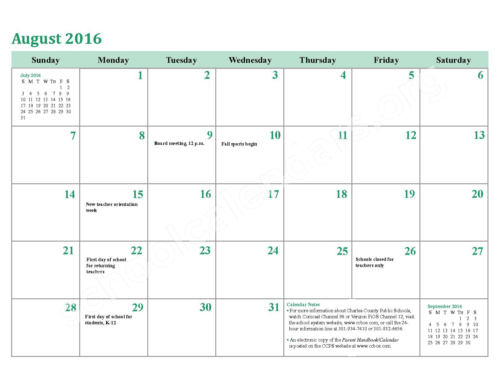 2016 - 2017 School Calendar – Charles County Public Schools – page 5