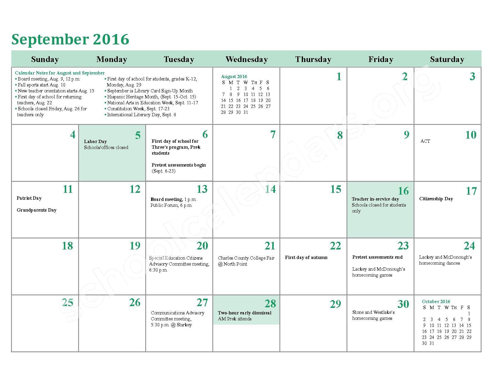 2016 - 2017 School Calendar – Charles County Public Schools – page 6