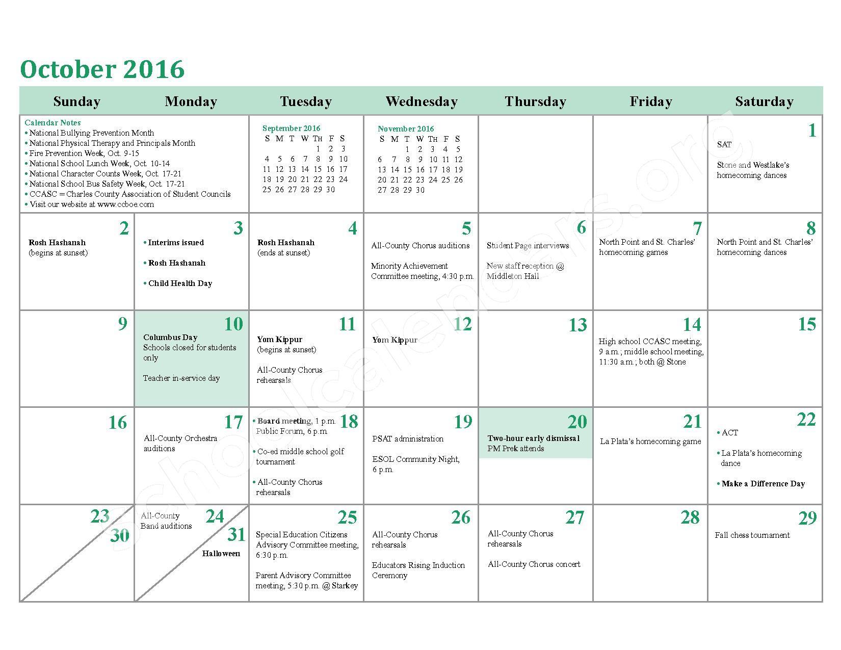 2016 - 2017 School Calendar – Charles County Public Schools – page 8