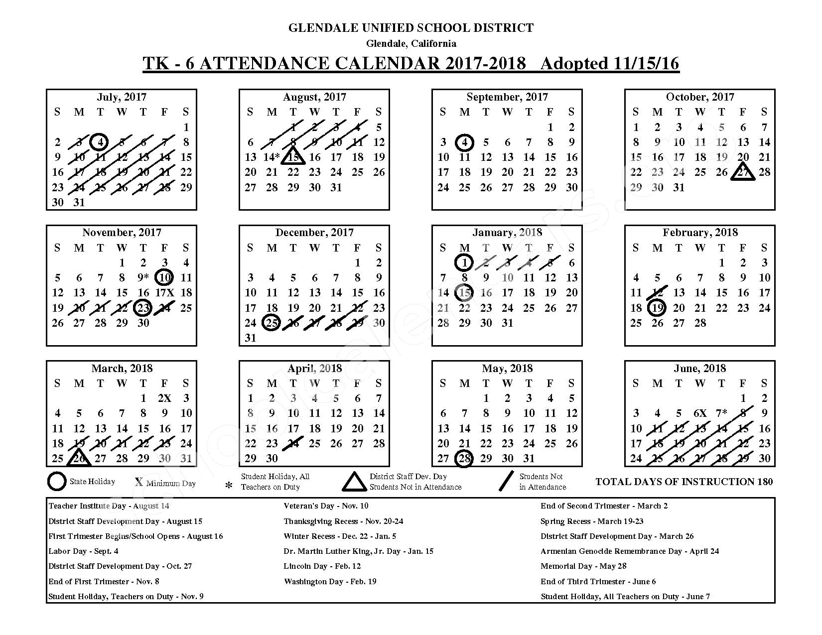 2017 - 2018 District Calendar – Glendale Unified School District – page 1