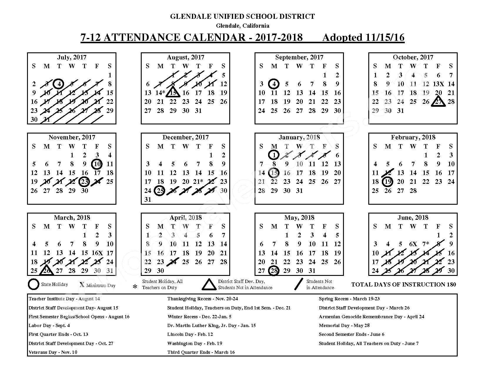 2017 - 2018 District Calendar – Glendale Unified School District – page 2