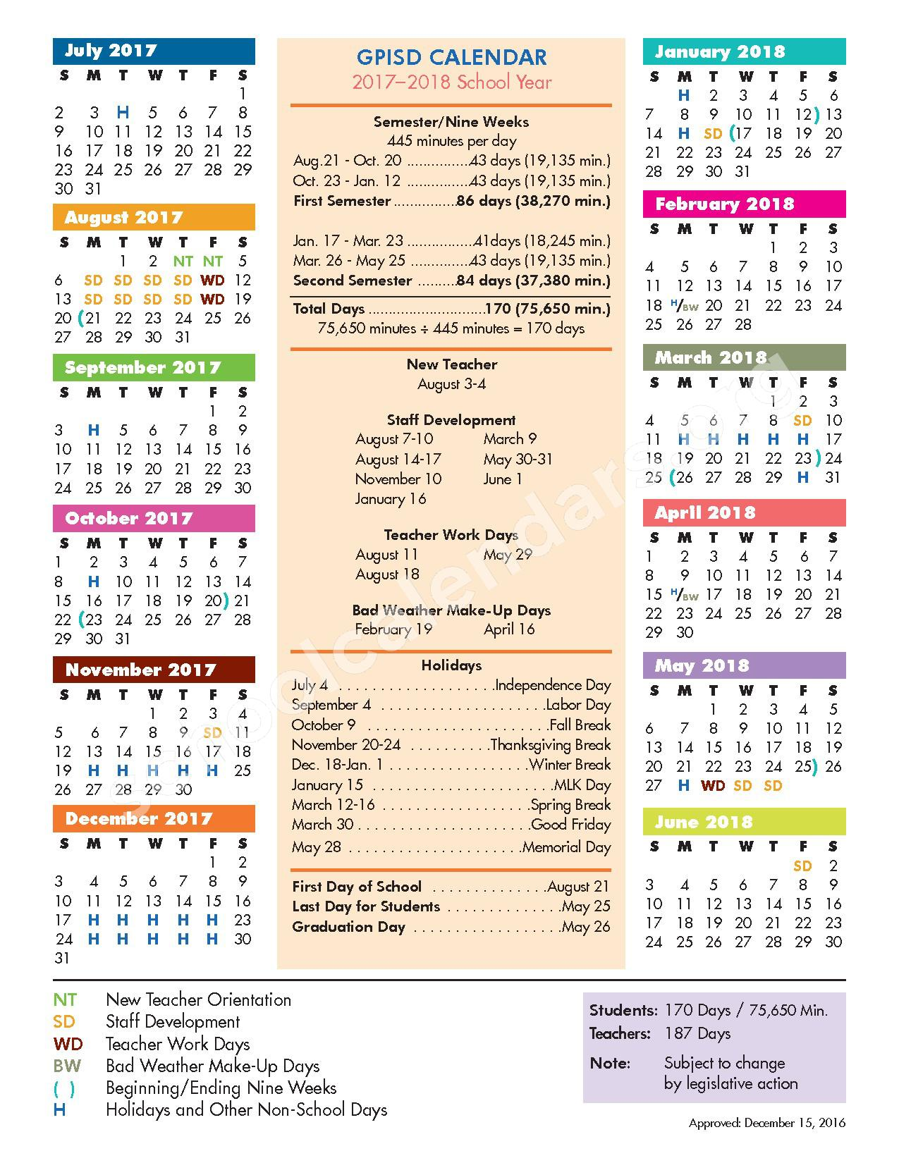 2017 - 2018 School Calendar – Grand Prairie High 9th Grade Center – page 1