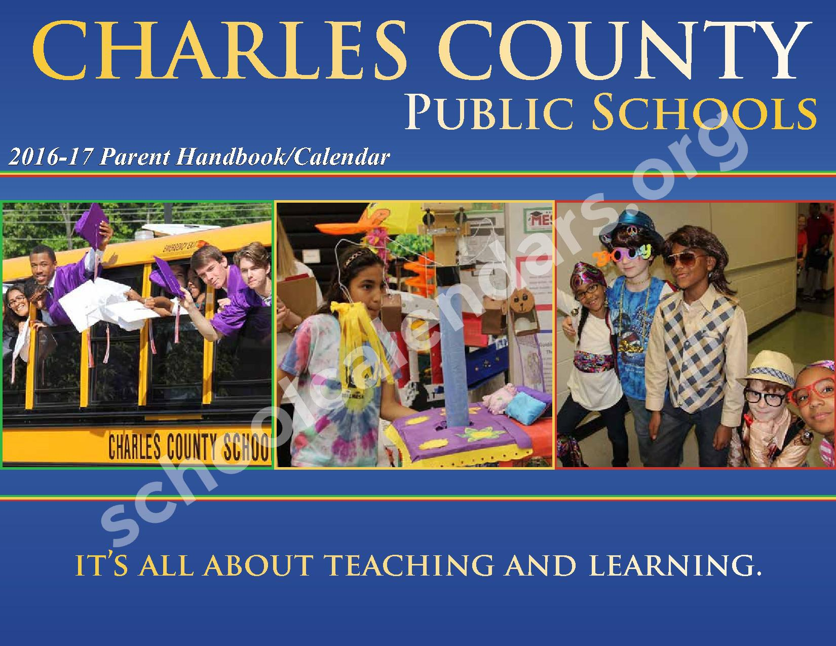 2016 - 2017 District Calendar – Charles County Public Schools – page 1