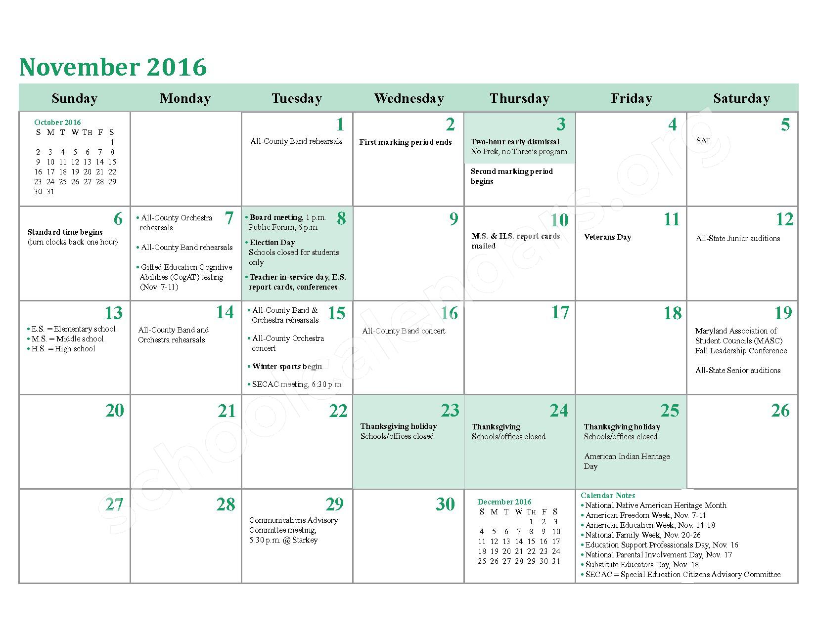 2016 - 2017 District Calendar – Berry Elementary School – page 10