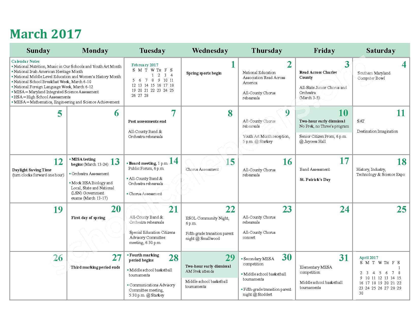 2016 - 2017 District Calendar – Charles County Public Schools – page 18