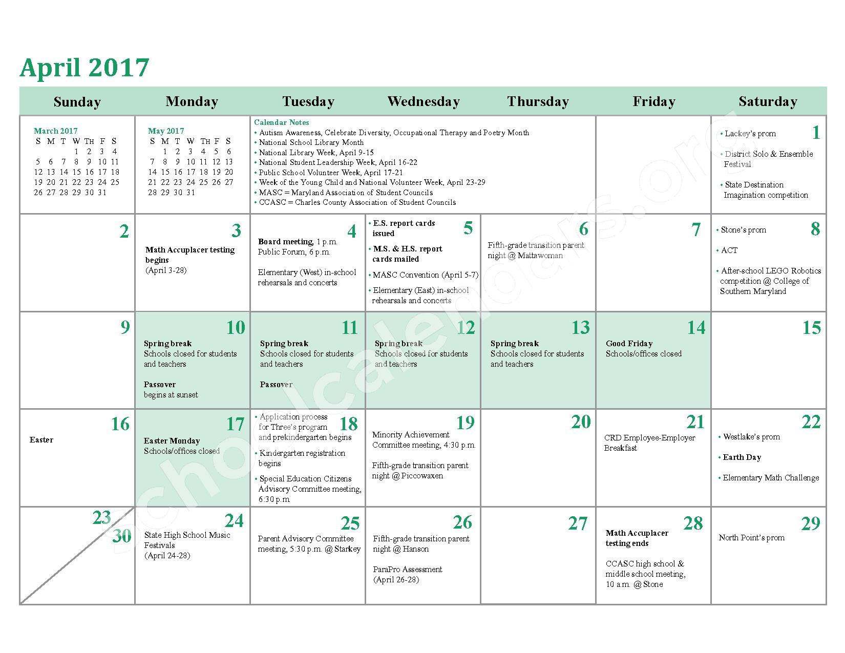 2016 - 2017 District Calendar – Berry Elementary School – page 20
