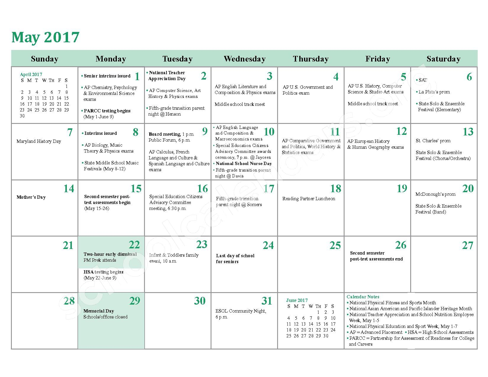 2016 - 2017 District Calendar – Berry Elementary School – page 22