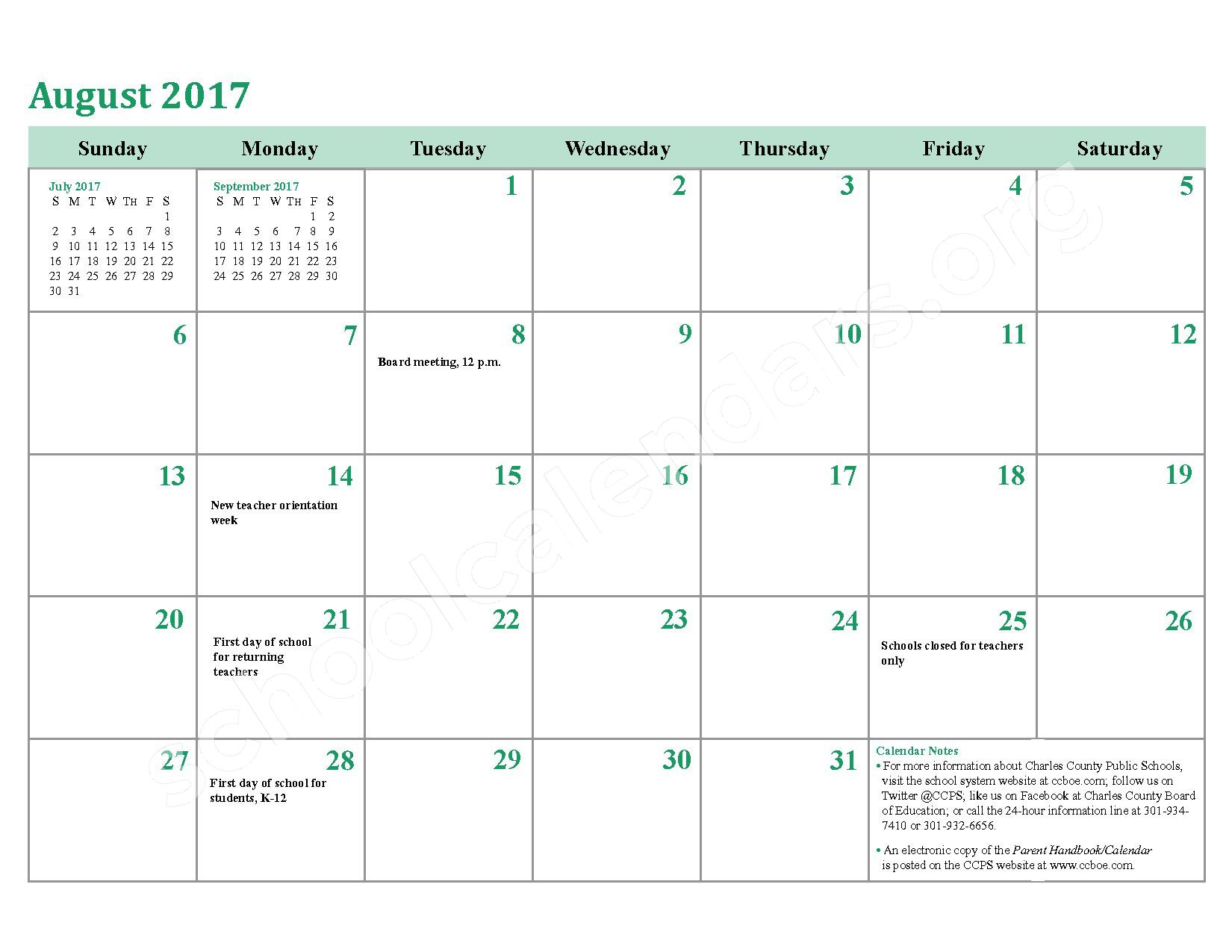 2016 - 2017 District Calendar – Charles County Public Schools – page 28