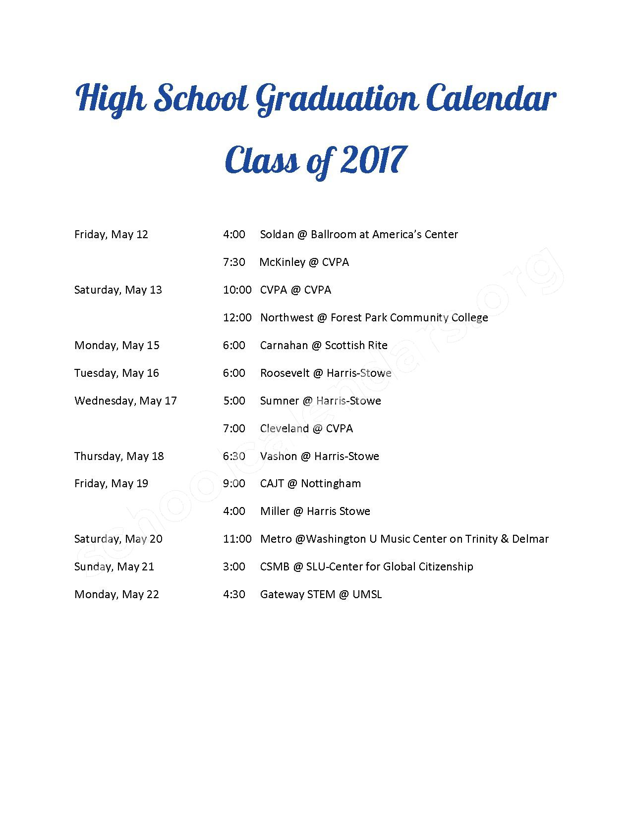 Graduation Schedule - Class of 2017 – Blewett Middle School – page 1
