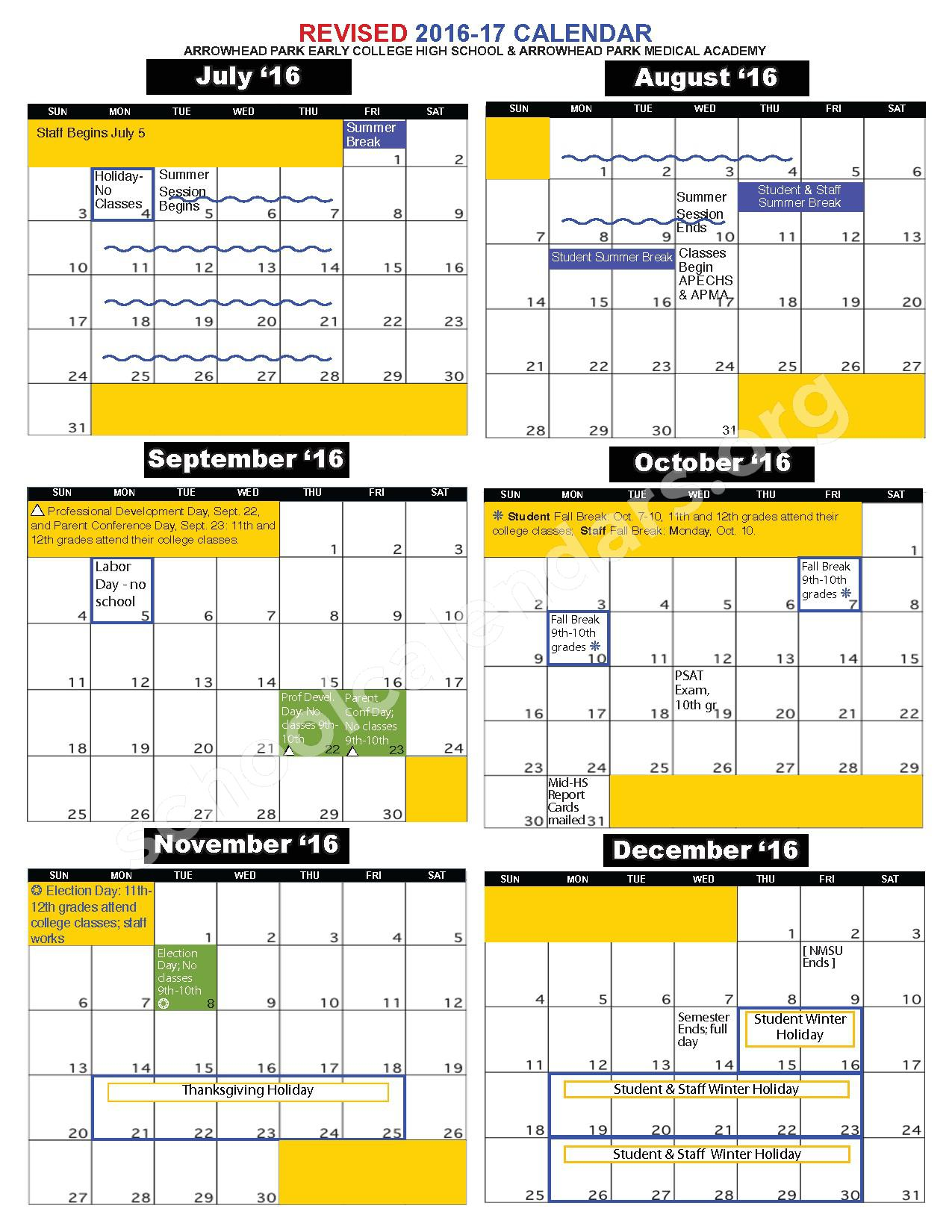2016 - 2017 School Calendar – Early College High School – page 1