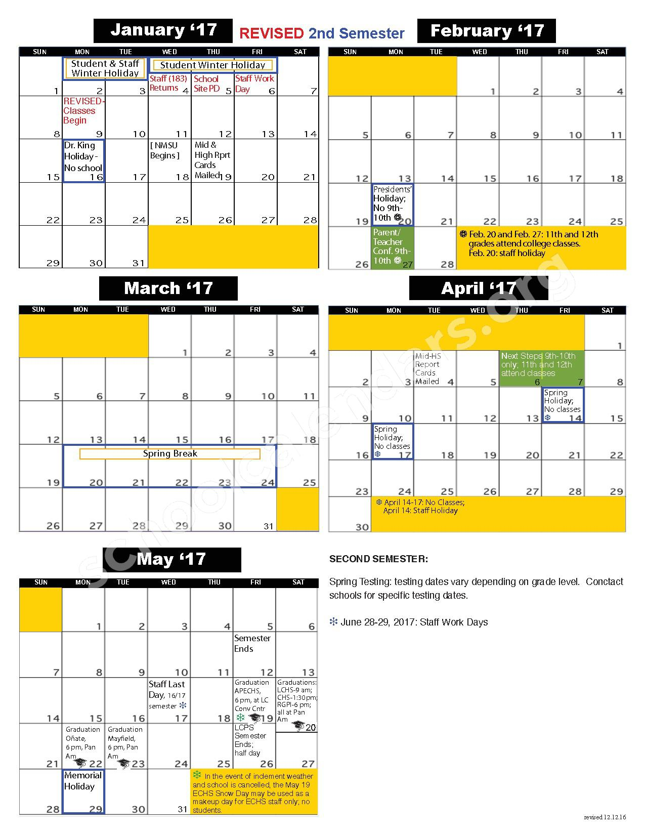 2016 - 2017 School Calendar – Early College High School – page 2