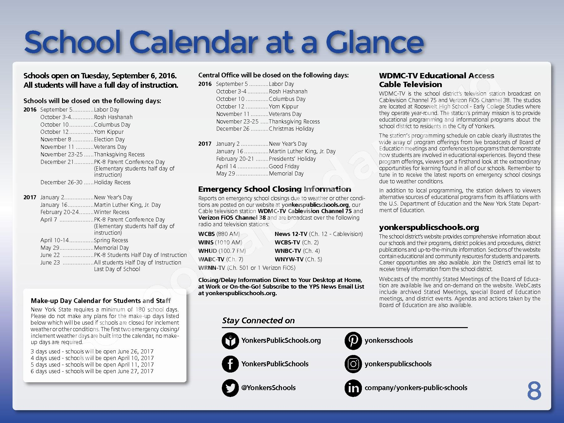 2017 - 2018 District Calendar – Yonkers City School District – page 10