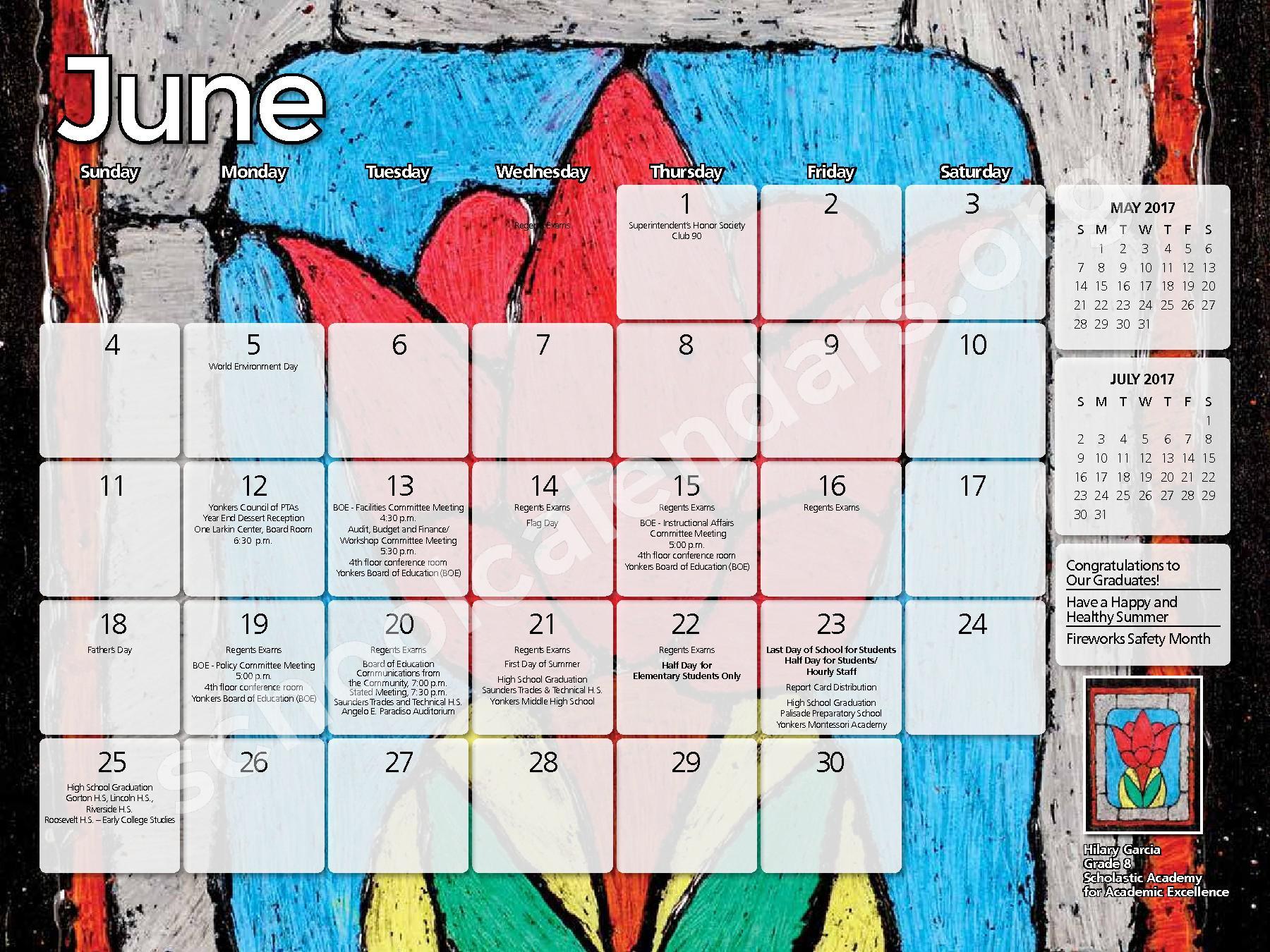 2016 - 2017  District Calendar – Yonkers City School District – page 10
