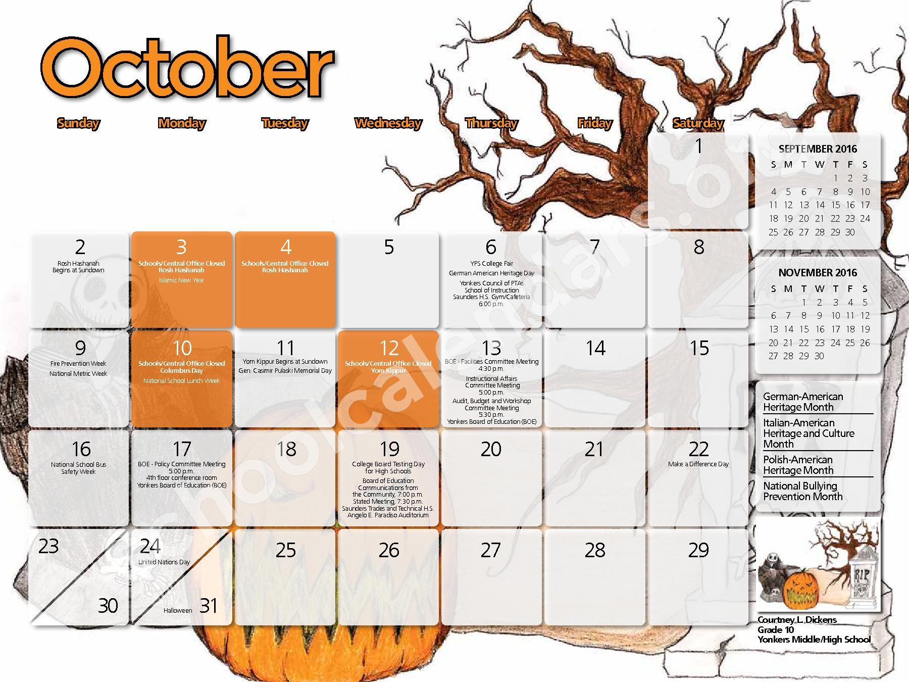2016 - 2017  District Calendar – Yonkers City School District – page 2