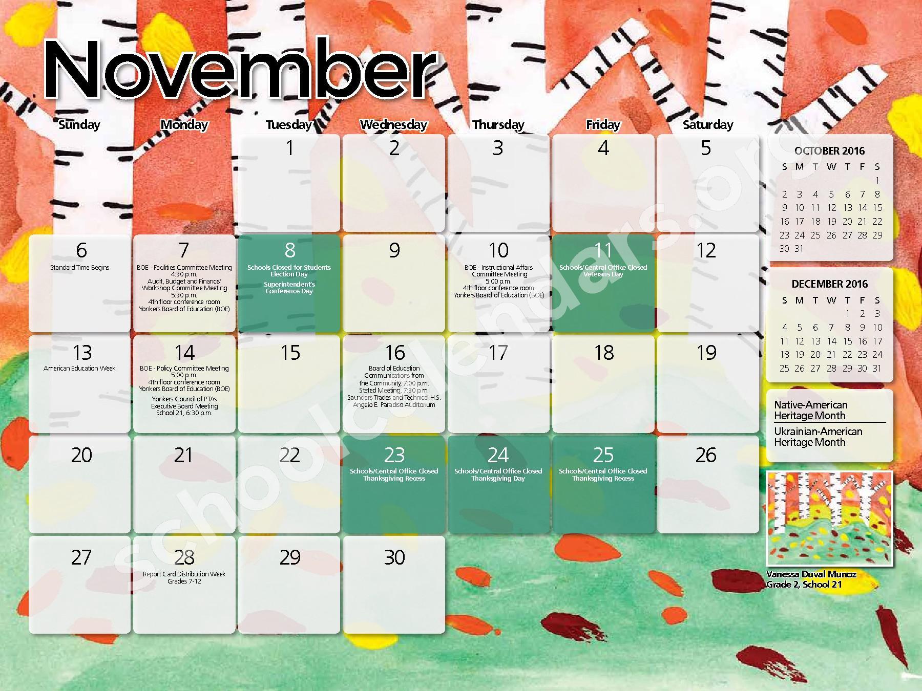 2016 - 2017  District Calendar – Yonkers City School District – page 3