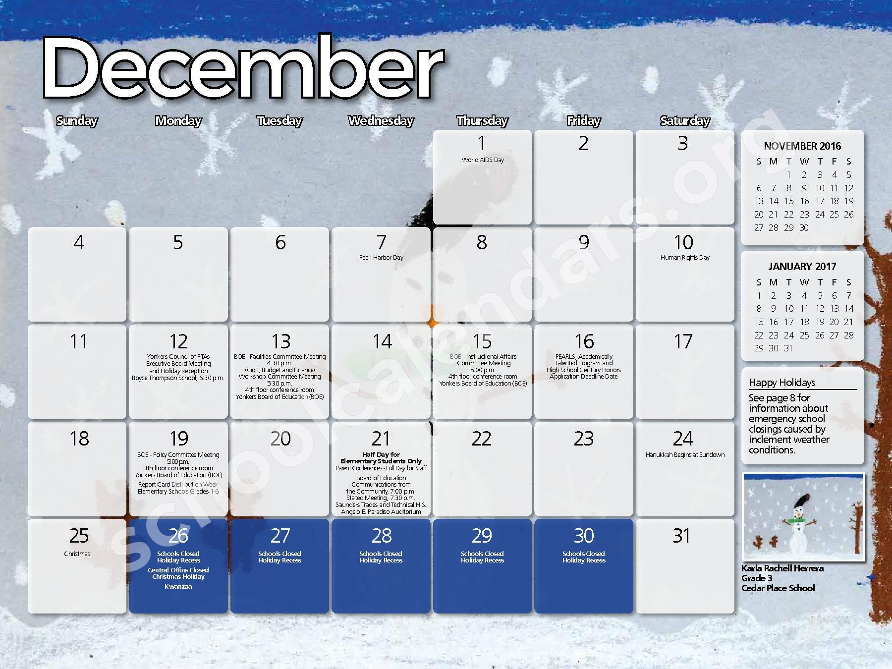 2016 - 2017  District Calendar – Yonkers City School District – page 4