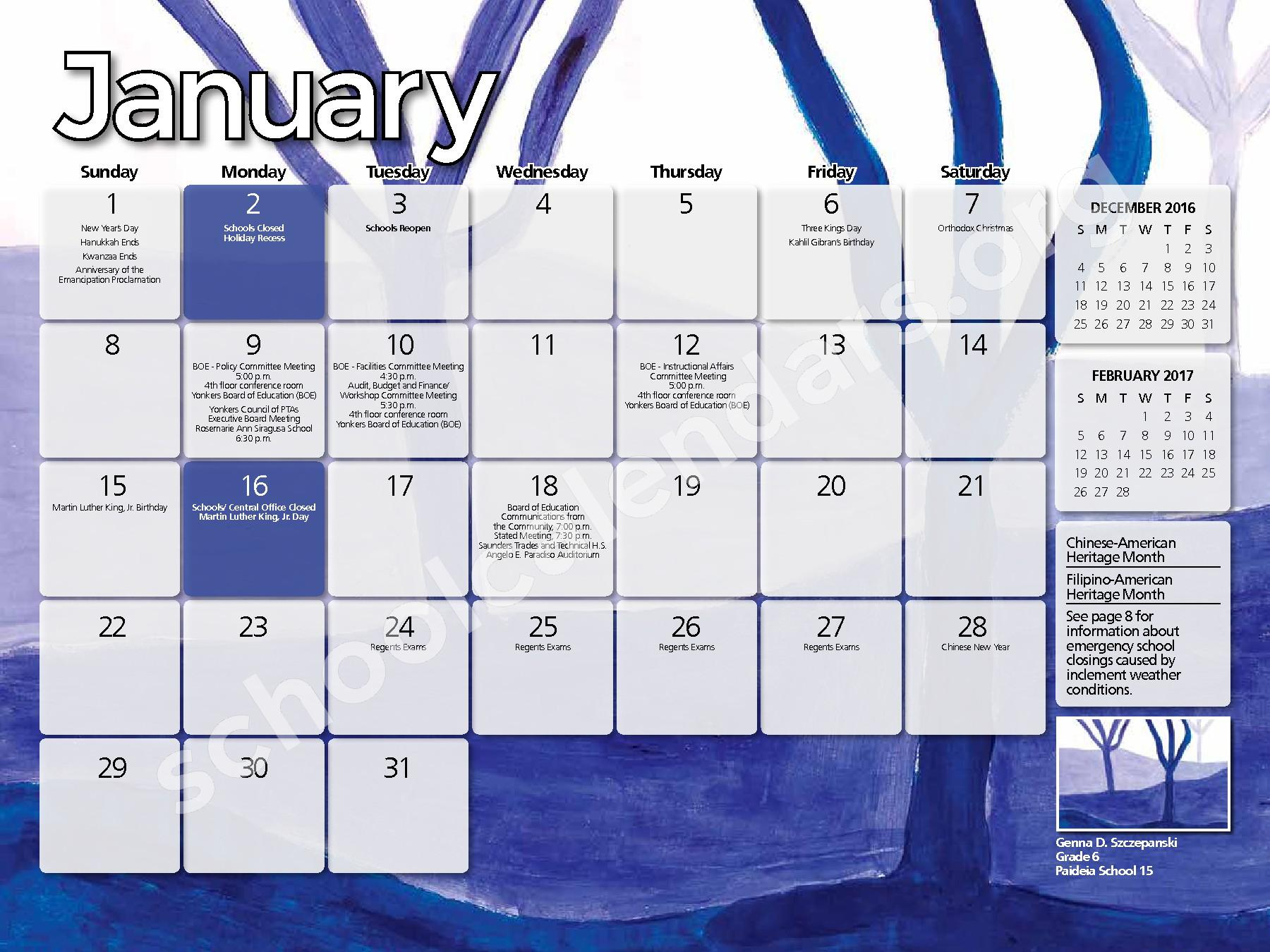 2016 - 2017  District Calendar – Yonkers City School District – page 5