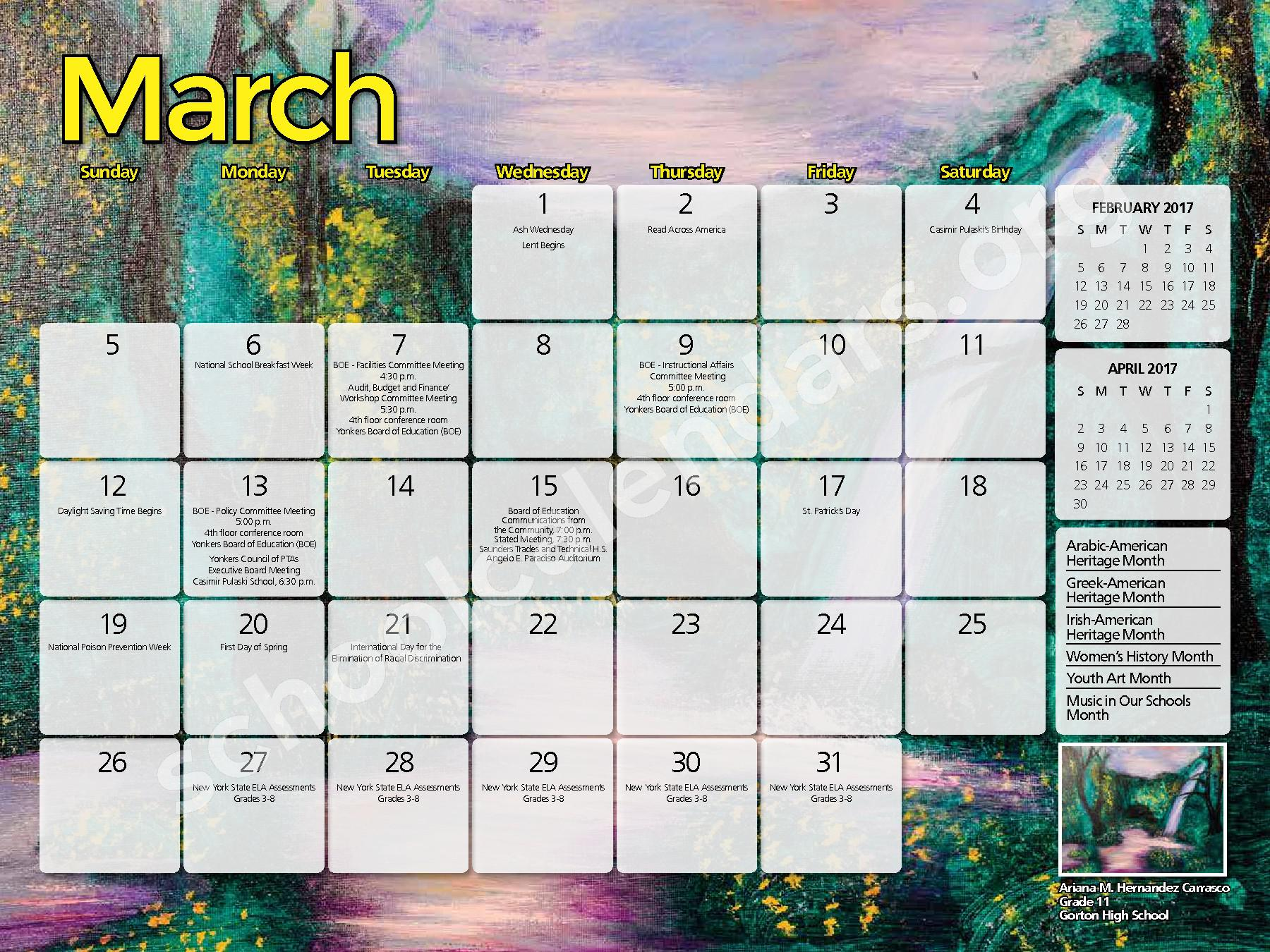 2016 - 2017  District Calendar – Yonkers City School District – page 7