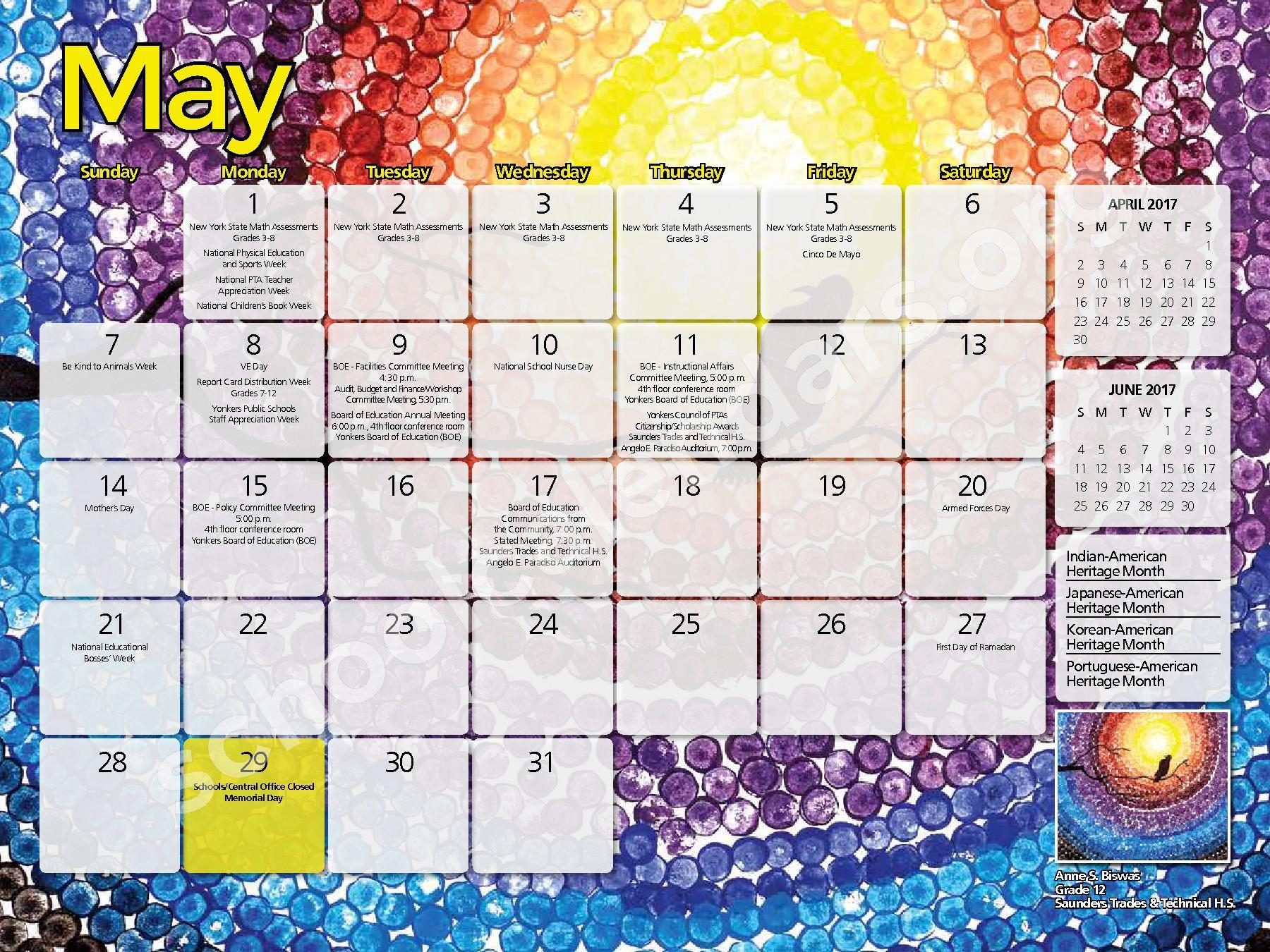 2016 - 2017  District Calendar – Yonkers City School District – page 9